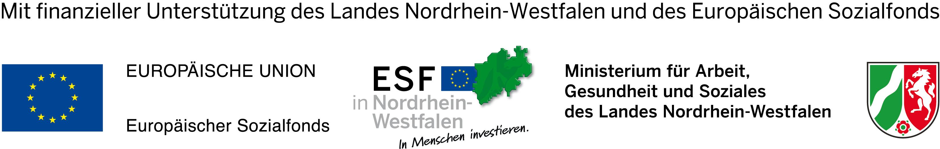 Logokombination des EU-, ESF in NRW und MAGS-Logos, nebeneinander, farbig, mit Förderhinweis